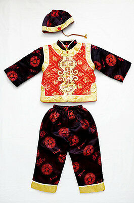 3 Pc Traditional Asian Cultural Brocade Padded Top/Bottom/Hat Matching Set 4 Yrs