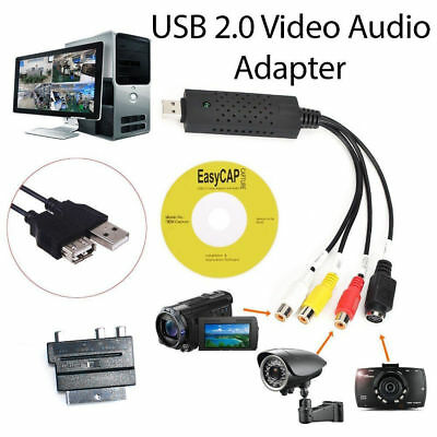 New USB 2.0 VHS To DVD Audio Video Converter Adapter Capture RCA Cable Win10