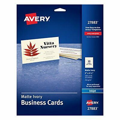 Avery Ivory Matte Business Cards 2 x 3.5 Inches 100 27883 Card Stock Paper