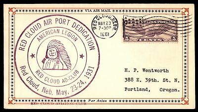 Mayfairstamps Red Cloud Airport Dedication Ne May 23 1931 Flag Cancel On Air Mai