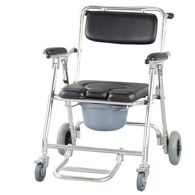 Commode Wheelchair Bedside Toilet & Shower Chair Bathroom Rolling Chair USA SHIP