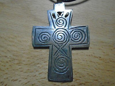 "ETHIOPIAN COPTIC SILVER CROSS SPIRALS PENDANT NECKLACE 64 mm x 44 mm  36"" cord"