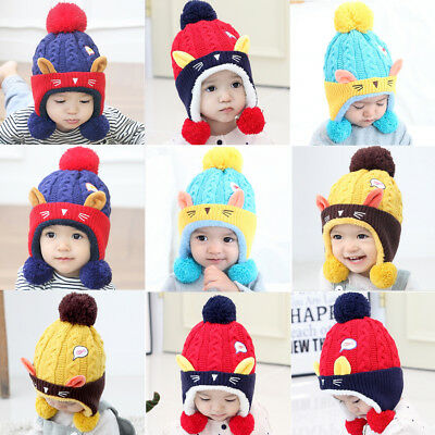 Cute Baby Toddler Winter Beanie Warm Hat Hooded Scarf Earflap Knitted Cap Kids