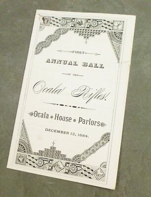 OCALA RIFLES 1884 FIRST ANNUAL BALL Florida DANCE CARD volunteers MARION COUNTY
