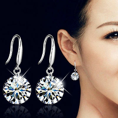 Silver Wedding dangle earrings Diamonte Crystal Bridal Jewellery Accessories