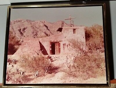 """Large Vintage Photo of TED DEGRAZIA GALLERY Shadowbox MISSION IN THE SUN 17X21"""""""