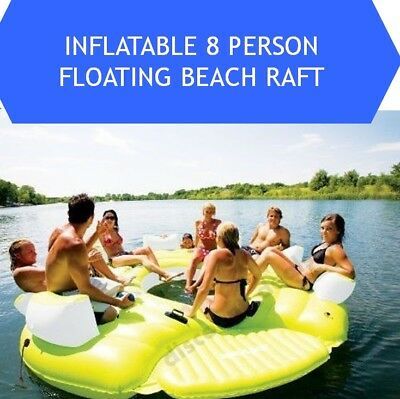 Inflatable Water Tube Floating Island Party Dock 8 Person Pool Lake Fun Boat