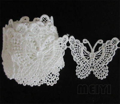 1 yard Vintage White Butterfly Lace Edge Trim Ribbon Applique DIY Sewing Craft
