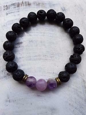 AM200 lava stone & amethyst oil diffuser bracelet made in aus 3 sizes