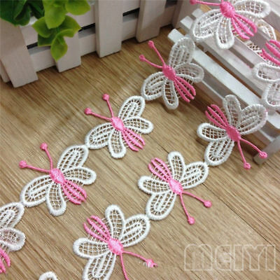5 Butterfly Vintage White Pink Lace Edge Trim Ribbon Applique DIY Sewing Craft