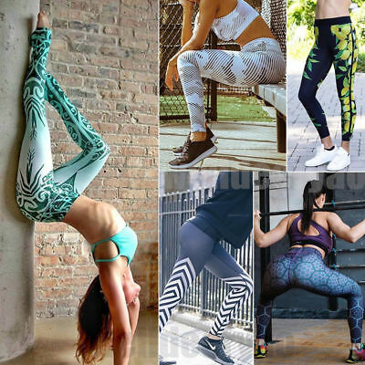 Women Floral Yoga Fitness Leggings Running Gym Stretch Sports High Waist Pants