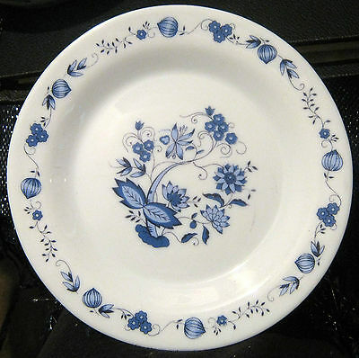 6x lovely French style glass plates with floral design in blue approx 7.5 ins