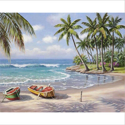 Unframed Digital DIY Paint By Number Kit Beach Oil Painting on Canvas Wall Decor