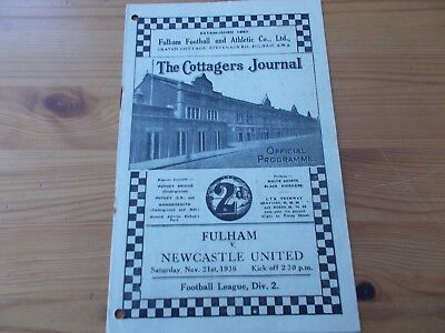 Fulham v Newcastle programme dated 21-11-1936       (F136)