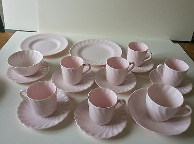Pink ROYAL TUSCAN coffee /tea set small cups fine bone china