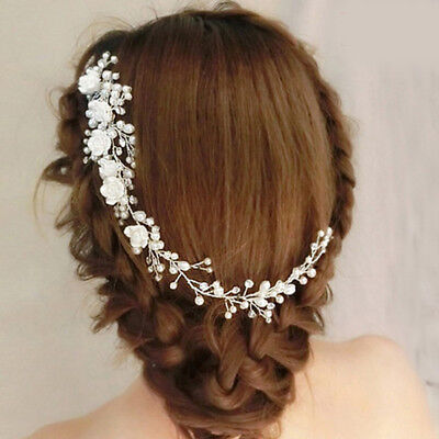New Women Prom Flower Pearl Crystal Hair Comb Bridal Wedding Headband Headpiece