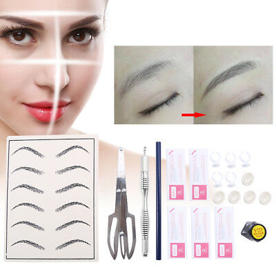 Complete Permanent Tattoo Microblading Manual Pen Eyebrow Paste Needles Kit SG