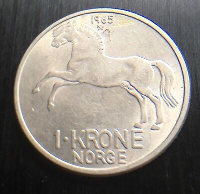 Norway 1965 One 1 Krone Coin 25 Mm Diameter Norge Horse