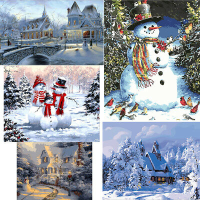 Canvas DIY oil painting, paint by number kits - Frameless Picture Snow Scene