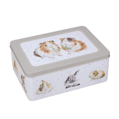 Wrendale Designs rectangular Biscuit Storage tin Guinea Pigs Lettuce be Friends