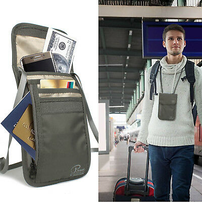 RFID Travel Neck Wallet Passport Holder Pouch Hidden For Passport, Credit Cards