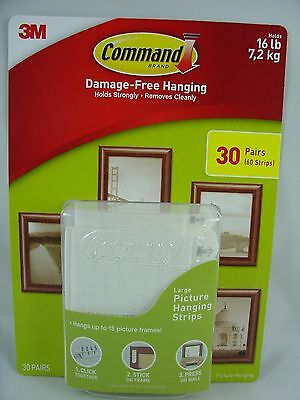 3M COMMAND STRIPS LARGE Picture Frame Hanging Damage free New