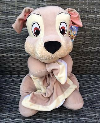 "NEW Extra Large 22.5"" Disney TRAMP PUPPY With Blanket Lady & The Tramp Plush Toy"