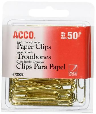 ACCO Gold Tone Jumbo Paper Clips Smooth Finish Steel Wire 20 Sheet Capacity Box