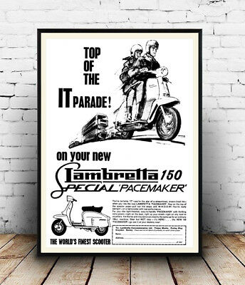 Lambretta 150 : Vintage motor Scooter advert, Wall art ,poster, Reproduction.
