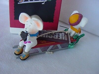 1996 HALLMARK HERSHEY'S Chocolate Bar Time for a Treat CHRISTMAS ORNAMENT Mice w