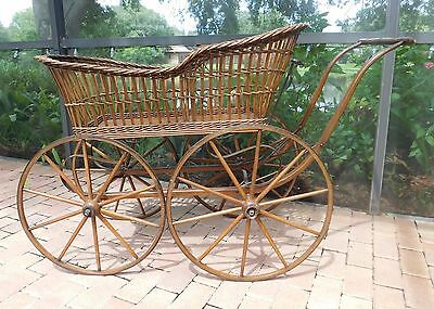 "Antique Victorian Brown Wicker ""pram"" Baby Carriage / Stroller"
