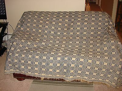 Antique Blue And White   Coverlet  With Center Seam