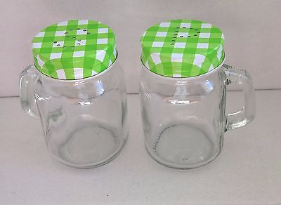 Mason Jar Shaped Salt and Pepper Pots With Green Gingham Lids