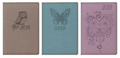 2018 Diary A5 Week to view Soft touch Owl,Butterfky or Heart Design Diary