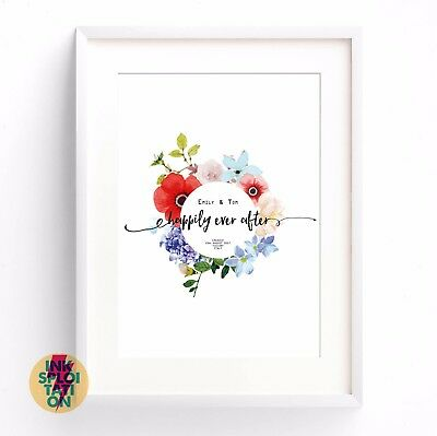 Personalised Happily Ever After Wedding Present Engagement Gift Wedding Print