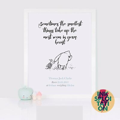 Winnie the Pooh Personalised Baby Print New Baby Birth Nursery Christening Gift