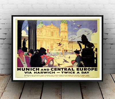 Munich  : Vintage Railway advertising , Wall art ,poster, Reproduction.