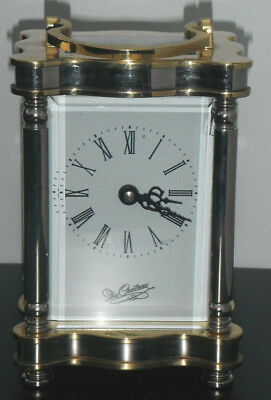 DU CHATEAU Striking Carriage Mantel Clock Brass Glass Working needs attention