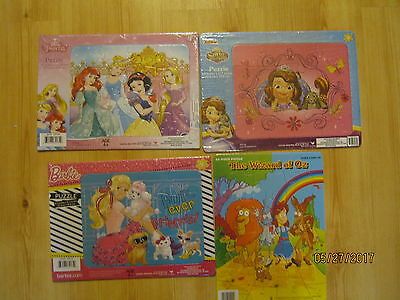 Lot of 4 NEW Frame Tray Puzzles Wizard of Oz Princesses, Sofia the First, Barbie