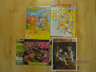 Lot of 4 NEW Frame Tray Puzzles Ninja Turtles, Wizard of Oz, Casper, U.S. Map
