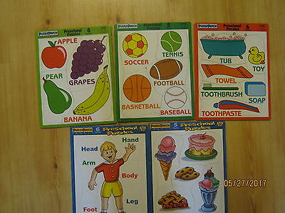 Lot of 5 Frame Tray Preschool Puzzles, Fruit, Balls, Bathroom, Desserts Ages 1-3