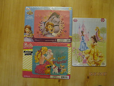 Lot of 3 NEW Frame Tray Puzzles Disney Princesses, Sofia the First, Barbie