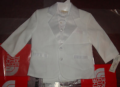 New Toddler Boys Christening Baptism Wedding White Suit 5Piece Outfit Bautizo 3T