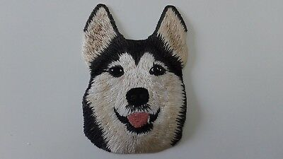"1 Pc Smiling Siberian Husky Emb Patch 3-1/8X2-1/8"" Sew/iron On"
