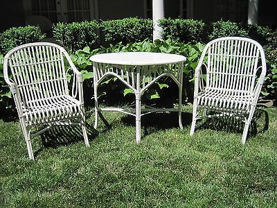 Sale Price!!! Heywood-Wakefield Stick Wicker Furniture, 2 Arm Chairs & Table