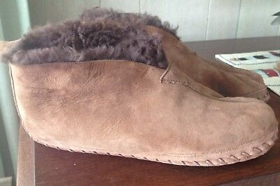 Men's LL Bean Wicked Good Suede  Shearling Moccasin Boot Slippers Size 9M Brown