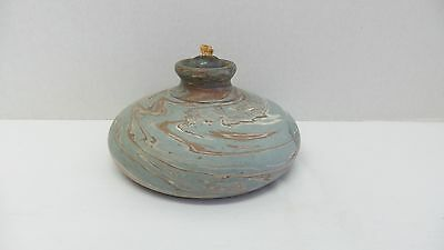 RARE NILOAK Arts & Crafts Art Pottery Mission Swirl Squat Vase/Bottle Oil Lamp