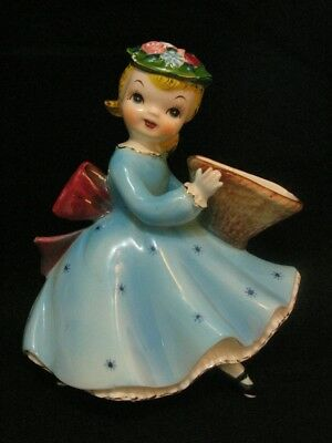 Mint Vintage Rare Norcrest Wall Plaque Girl with Basket & Blue Snow Flakes Dress