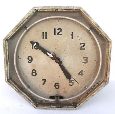 Vintage Neon Commercial Advertising Octagonal Clock For Parts Or Restoration