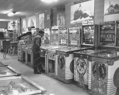 "Arcade Woodrail Pinball Games 1950's  Vintage 8"" -10""  B&W Photo Reprint"
